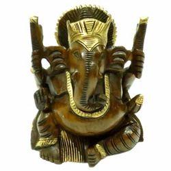 Wooden Ganesha With Black Finishing Work