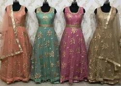 Party Wear Anarkali Suit Ladies Suit, Wash Care: Dry Clean