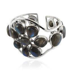 Designer Labradorite Gemstone 925 Silver Bangle
