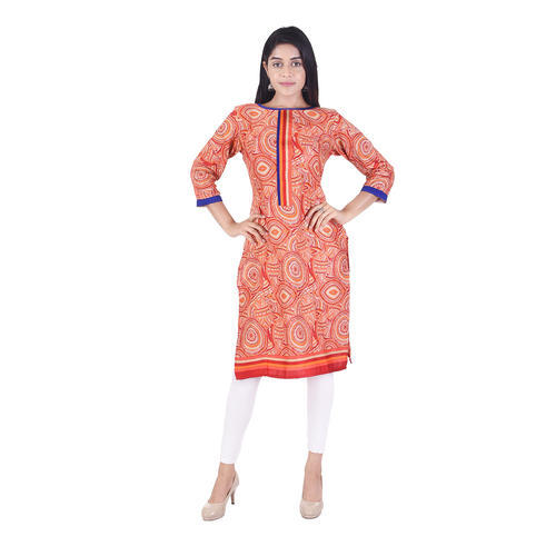 Lavanya Cotton 3/4th Sleeve Printed Designer Formal Kurti