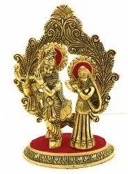 Gold Plated Radha Krishna Statue