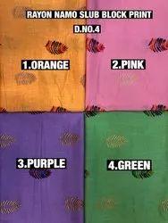 Rayon Namo Slub Block Print Fabric