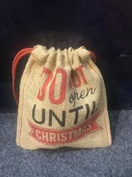 Christmas Unlaminated Jute Drawstring Pouch