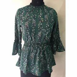 Ladies Green Floral Printed Top