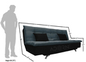 Adorn India Aspen 3 Seater Sofa Cum Bed (Dark Grey & Black)