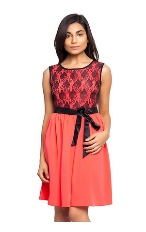 140f11893c6 Carrot Color Dress With Black Lace And Satin Belt (Red)