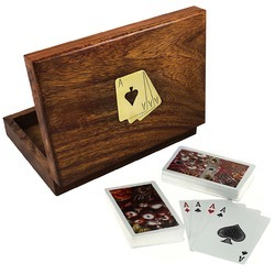 Brown Wooden Card Box, Size/Dimension: 7x5 Inches