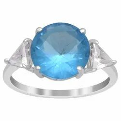 10 MM Blue Color Gemstone 925 Sterling Silver Trio Stone Side Stone Ring
