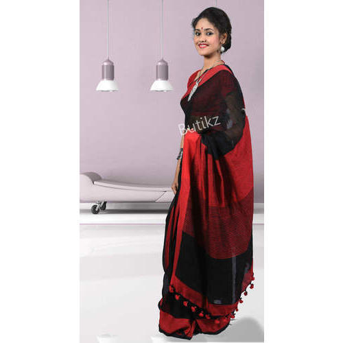 30b4a88b6 Pure Linen Red   Black Saree