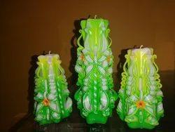 Spiral Designer Carved Candles Set