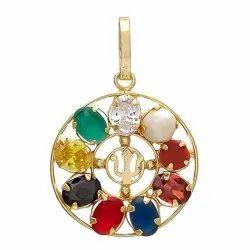 Multi Colour Synthetic Navratna Brass Pendant for Unisex