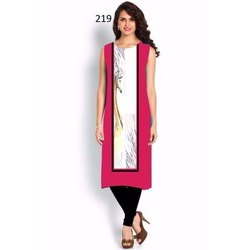 Stylish Half Sleeve Digital Print Crepe Kurti