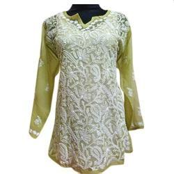 Small Full Sleeve Embroidery Ladies Kurti, Packaging Type: Poly Bag
