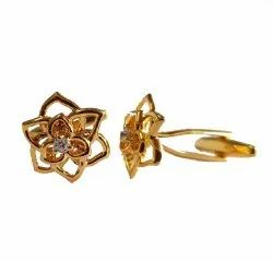 Gold Plated Petals Cufflinks Studded with Swarovskis