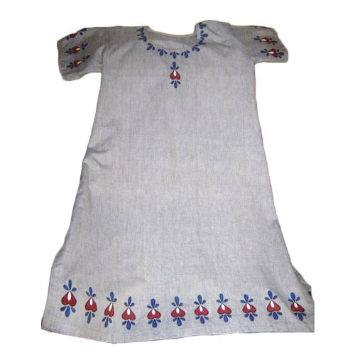 Grey Casual Wear Ladies Embroidered Kurti