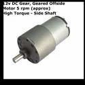 12v DC Gear, Geared Offside Motor 5 rpm (approx) High Torque - Side Shaft