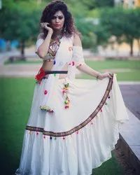 Indian Ethnic Designer Rayon Mirror Work White Lehenga