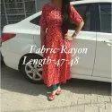 Ladies Red Circular Printed Rayon Kurti