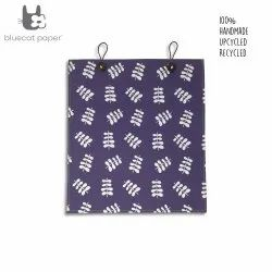 Eco friendly and unique gift bag with buttons - purple paper, white twig leaf print