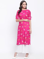 Jaipur Pints Rayon Floral Pink Straight Kurta