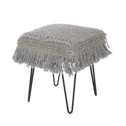 Rug Upholstered Living Room Square Stool Ottoman
