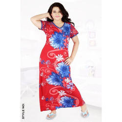 V Neck Printed Hosiery Nighty