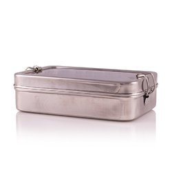 Silver Rectangular Stainless Steel Lunch Box, for School