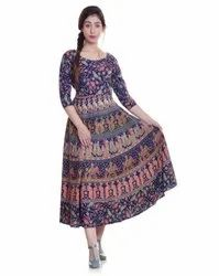 3/4th Sleeves Jaipuri Printed Cotton Frock