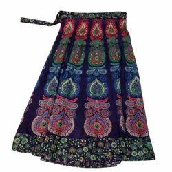 Medium Blue Designer Printed Cotton Skirts, Size: XL