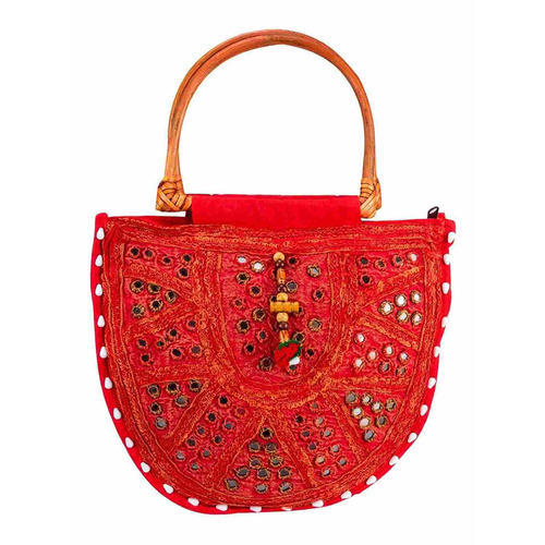 a974406445b Little India Red Rajasthani Style Mirror Work Hand Bag. mark as favourite