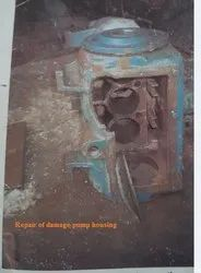 Repair Of Pump Housing By Metal Stitching And Metal Locking