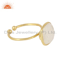 Cushion Shape Rainbow Moonstone Yellow Gold Plated 925 Silver Ring
