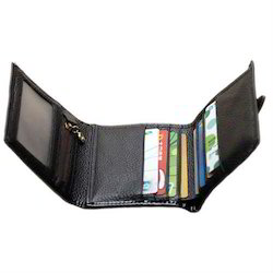 Male Black Trifold Goat Hide Leather Wallet