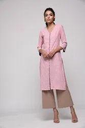 Khadi Rayon Pink Kurta