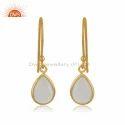 Rose Quartz Gemstone Designer Gold Plated Silver Earrings Jewelry