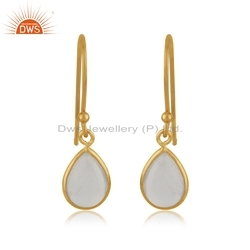 Rose Quartz Gemstone Designer Gold Plated Silver Earrings