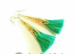 Golden And Green Tassels Earrings