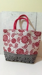 Red And White Two Handle Floral Print Jute Bag