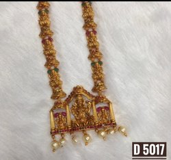 South Indian Brass Long Temple Jewellery Set