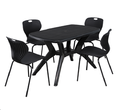 Plastic Black Rectangular Chairs And Table