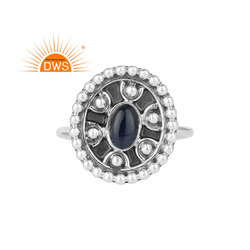 Glorious Blue Sapphire Gemstone Handmade Oxidized 925 Silver Ring