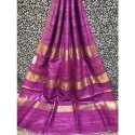 Party Wear Border Ladies Fancy Tussar Ghicha Silk Saree, 6 M (with Blouse Piece)