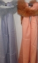 Ombre Dyed Fine Wool Cashmere FUR Neck Trimmed Scarves