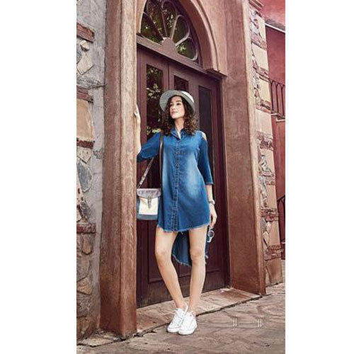 Medium And Xl Plain Casual Denim Kurti