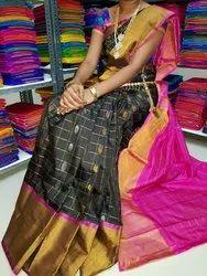Silk Party Wear Uppada Cheks Buta Sarees, 6.3 m (with blouse piece)