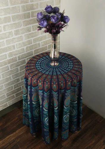 Rajrang Blue Mandala Bohemian Cotton Printed Round Table Cloth, Size: D 70  Inch