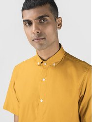 Solid Mustard Half Sleeve Men Casual Cotton Shirt
