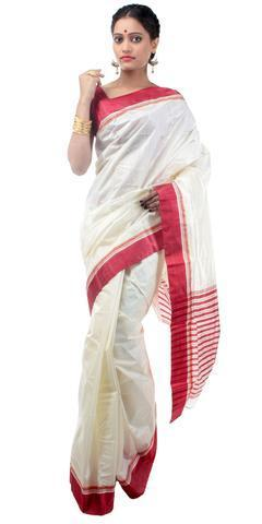 cc68b9d148 Garad Silk Red White Saree With Blouse Piece, Rs 2200 /piece | ID ...