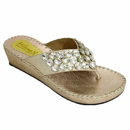 0c1bddc5b4f Milano Whitish   Gold Stone Studded Ladies Flat Sandals
