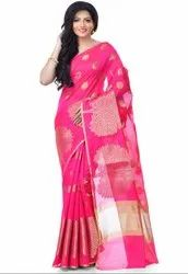 Rani Pink Cotton Blend Zari Work Banarasi Saree